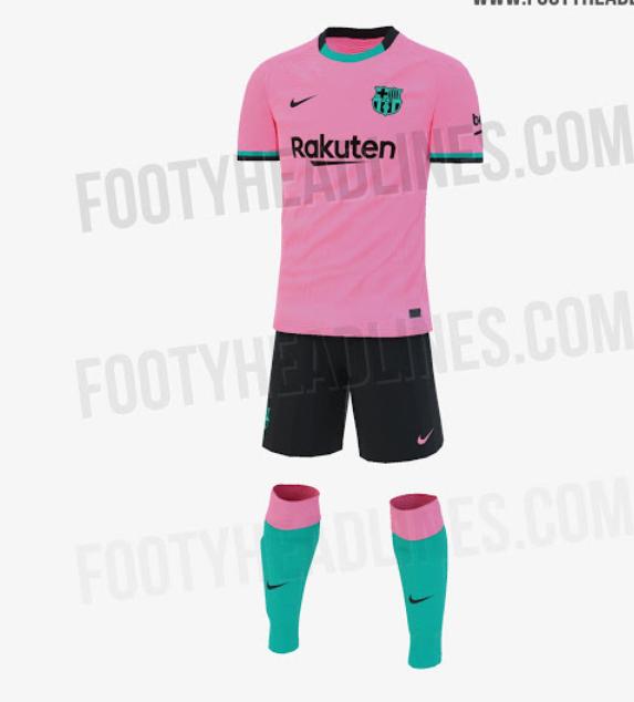 巴萨新赛季二客球衣实体照:主体粉丝搭配黑色、蓝绿插图(2)
