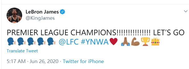 詹姆斯恭喜利物浦夺冠:英超联赛冠军!!冲呀!!