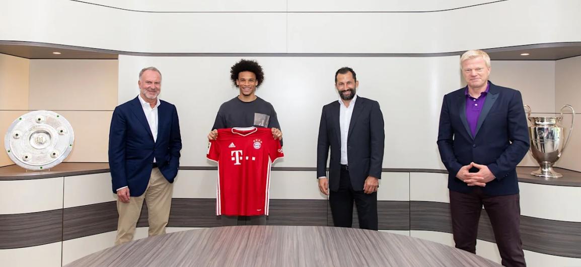 官方:曼城边锋萨内正式加盟拜仁慕尼黑,签约至2025年夏