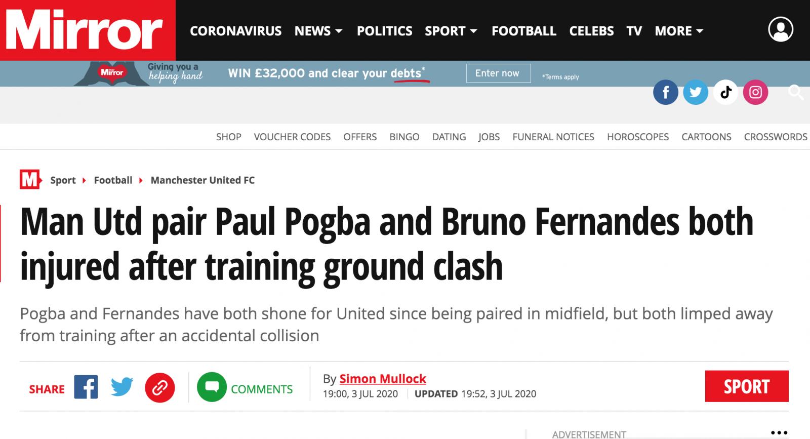 博格巴和B费训练中相撞受伤?曼联内部人士:没啥好担心的