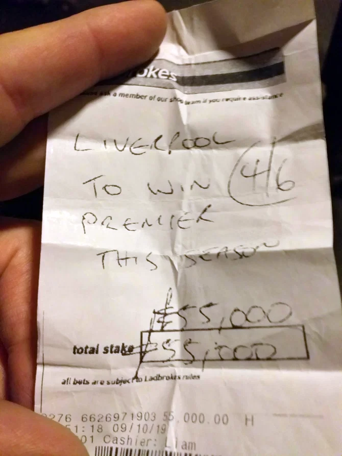 大英曼联球迷押注利物浦夺冠,收获9.1万镑奖金