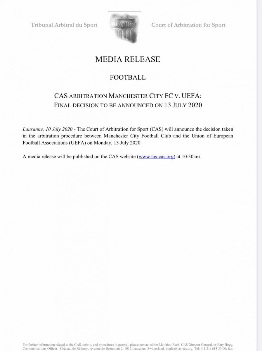CAS官方:将于下周一正式公布曼城欧战申诉结果