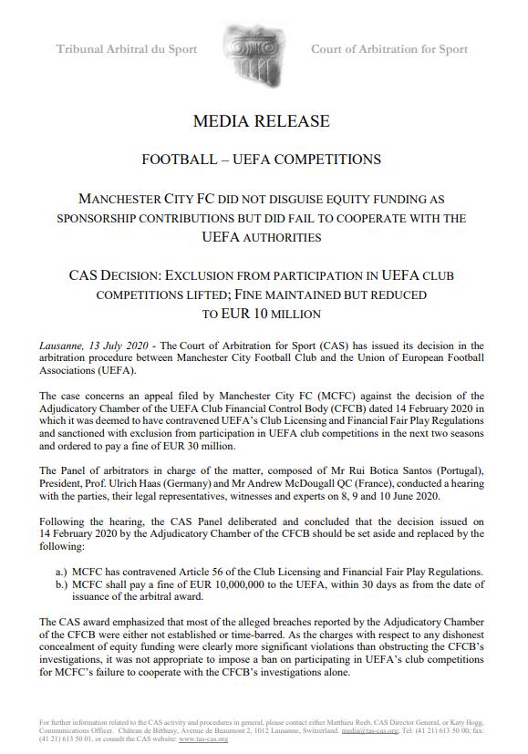 官方:曼城上诉成功可参加下赛季欧战,须交1000万欧罚款
