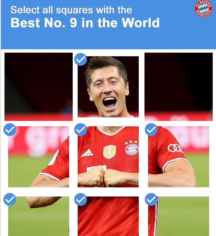官方调皮!拜仁INS:选世界最佳9号图,验证是不是机器人