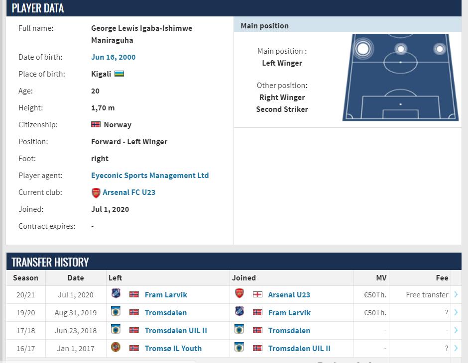 Goal:枪手接近签下挪威边锋刘易斯,有望足总杯