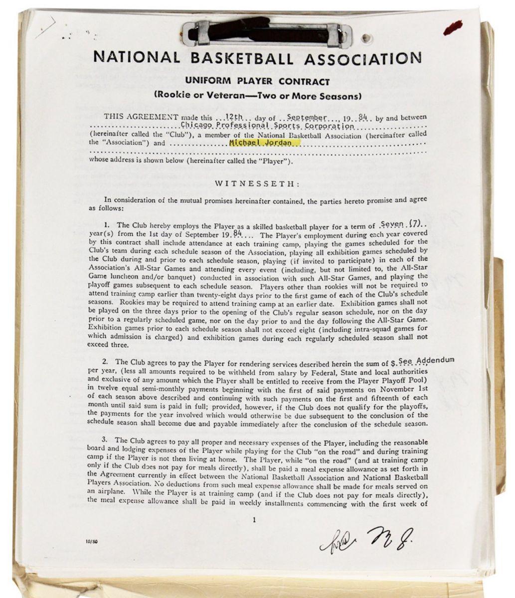 乔丹与公牛签约的首份合同复印件以57068美元价格成交