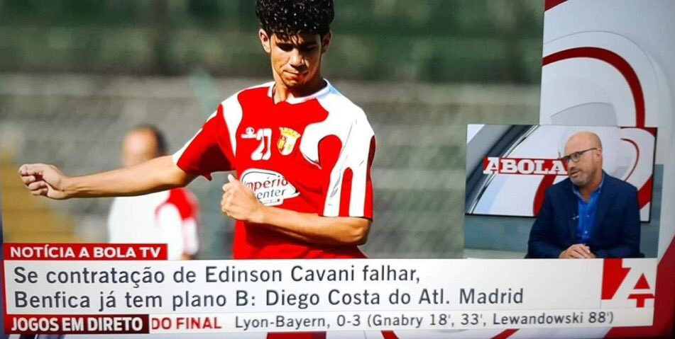 球报:免签卡瓦尼未果,本菲卡引援目标转向迭戈足球新闻-科斯塔