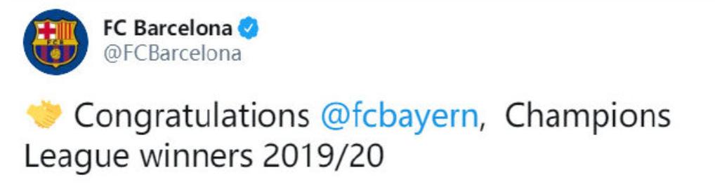 大度!拜仁队史足球新闻第6次赢欧冠,巴萨官推:祝贺拜仁