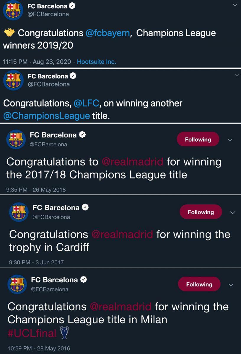 祝贺对手!巴萨官方祝贺拜仁成为2019/20赛季欧冠国际足球新闻冠军得主