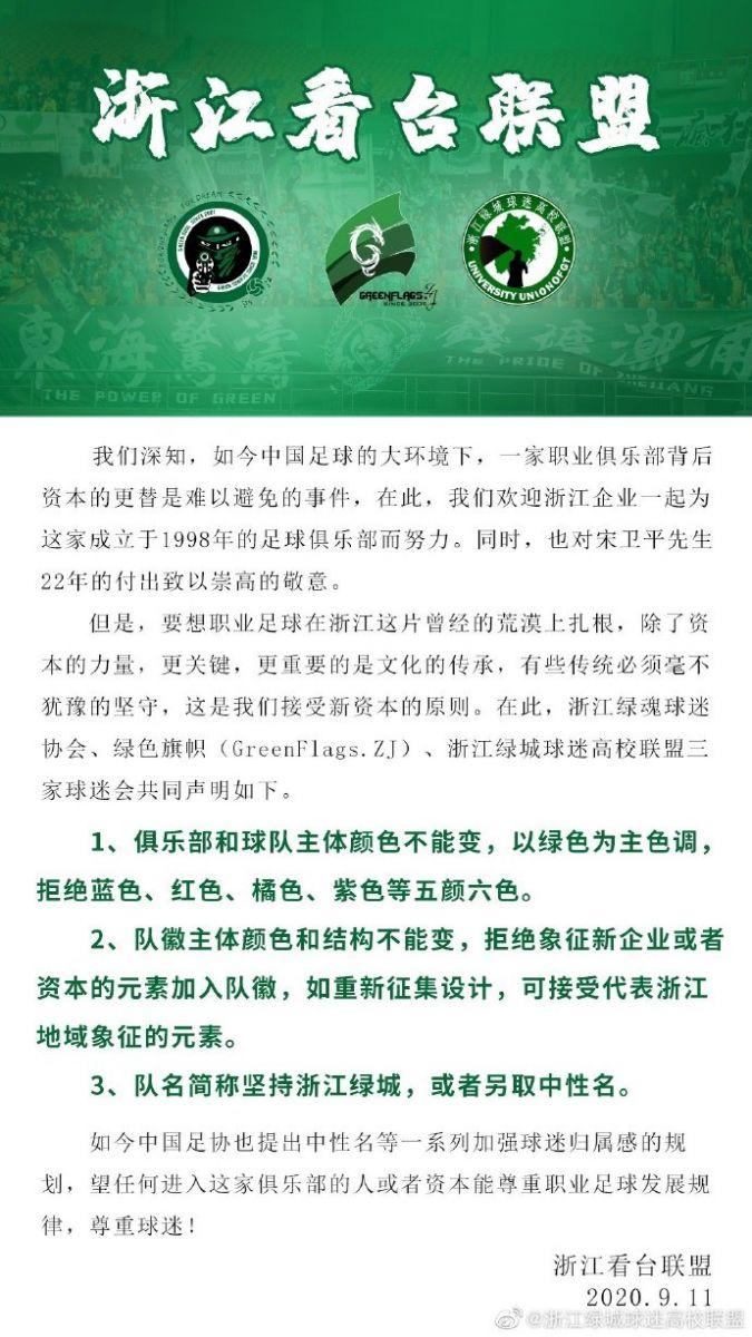 浙江球迷:队名不变或另取中性名,拒新企业元素入队徽