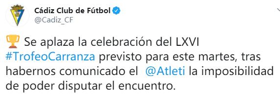 安全第一!官方:马竞与加的斯的卡兰萨杯比赛将推迟进行 第2张