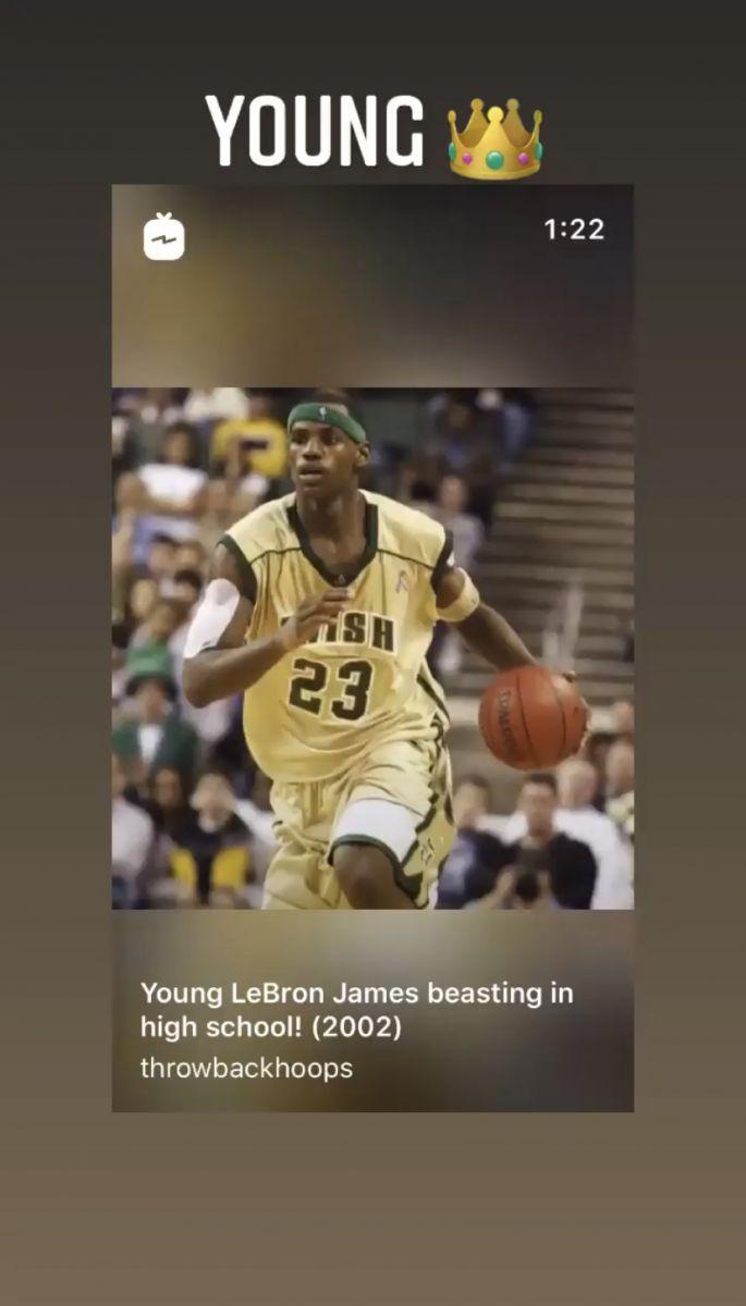 未来可期!詹姆斯转发自己02年高中竞赛集锦:年轻的国王