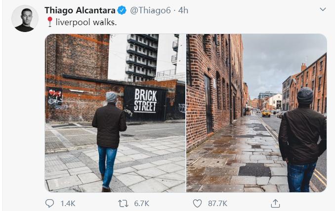 蒂亚戈已完毕自我阻隔期,出门去利物浦市中心