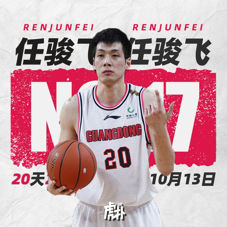 任骏飞中选虎扑CBA20大本乡球星评选第十七名