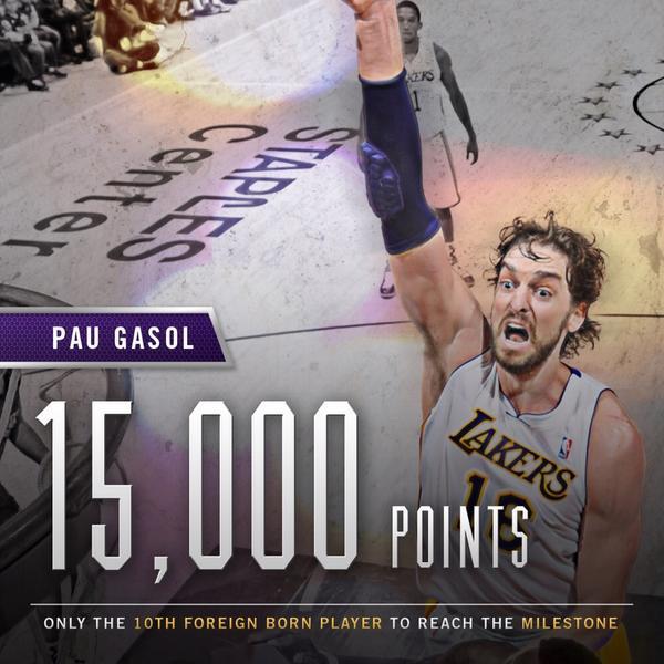 加索尔生涯得分突破15000分