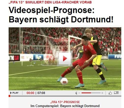 Fifa13模拟:拜仁2-0战胜多特蒙德