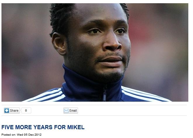 官方:切尔西续约米克尔5年