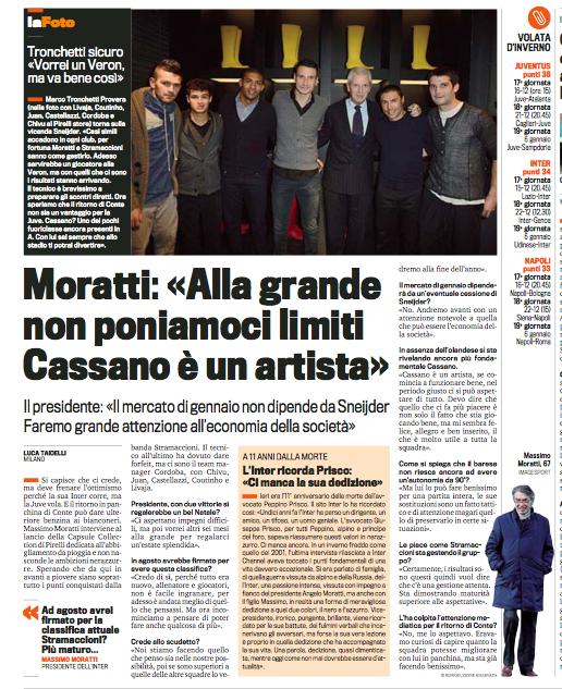 米体专访莫拉蒂:卡萨诺是球队决定性因素