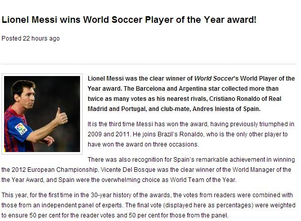 英著名杂志年度足球先生揭晓:梅西当选