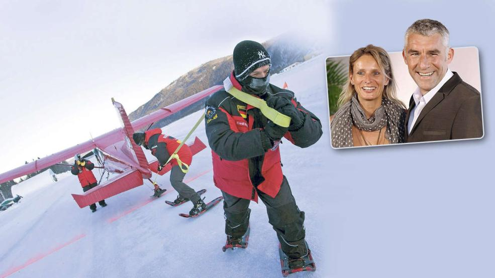 花边:斯洛姆卡夫人参加雪地极限运动