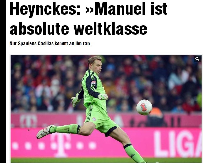 海因克斯盛赞诺伊尔:他是世界级的