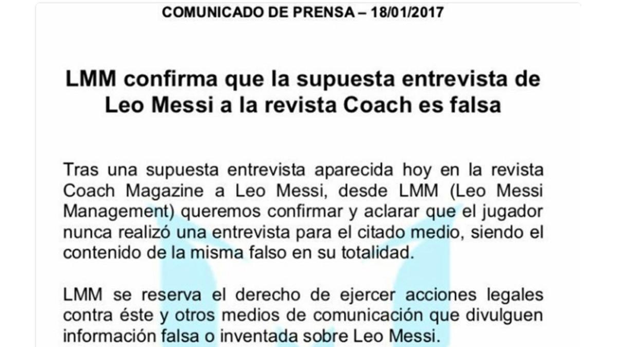 梅西团队官方声明:未接受Coach杂志采访