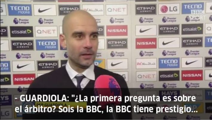 瓜帅不满BBC提问裁判问题:你们应该谈足球