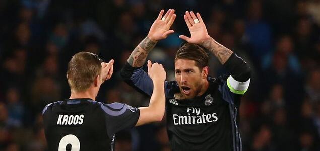 欧冠:拉莫斯建功,皇马3-1总比分6-2那不勒斯