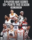 媒体晒图展示本赛季所有拿到过50分的球员