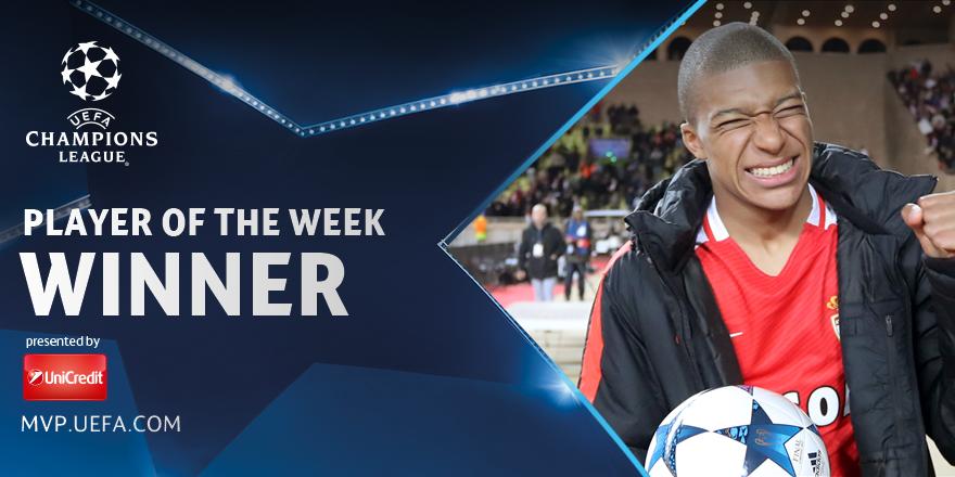 官方:摩纳哥前锋姆巴佩荣膺欧冠周最佳球员