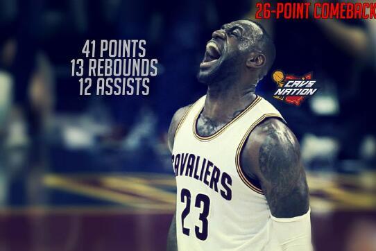 骑士追平NBA季后赛历史最大逆转纪录