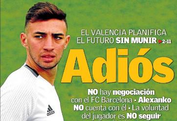 超级体育报:瓦伦西亚不买断穆尼尔,球员本赛季后归队