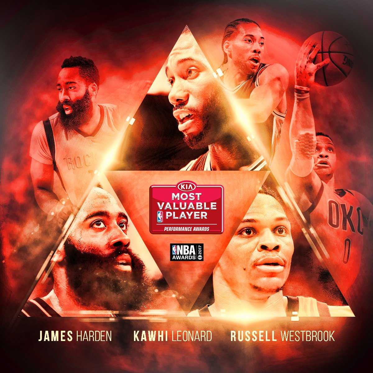 例行賽MVP最終候選人:James Harden、Russell Westbrook、Kawhi Leonard