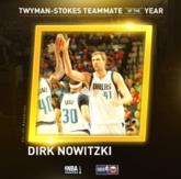 诺维茨基获得获得赛季最佳队友奖