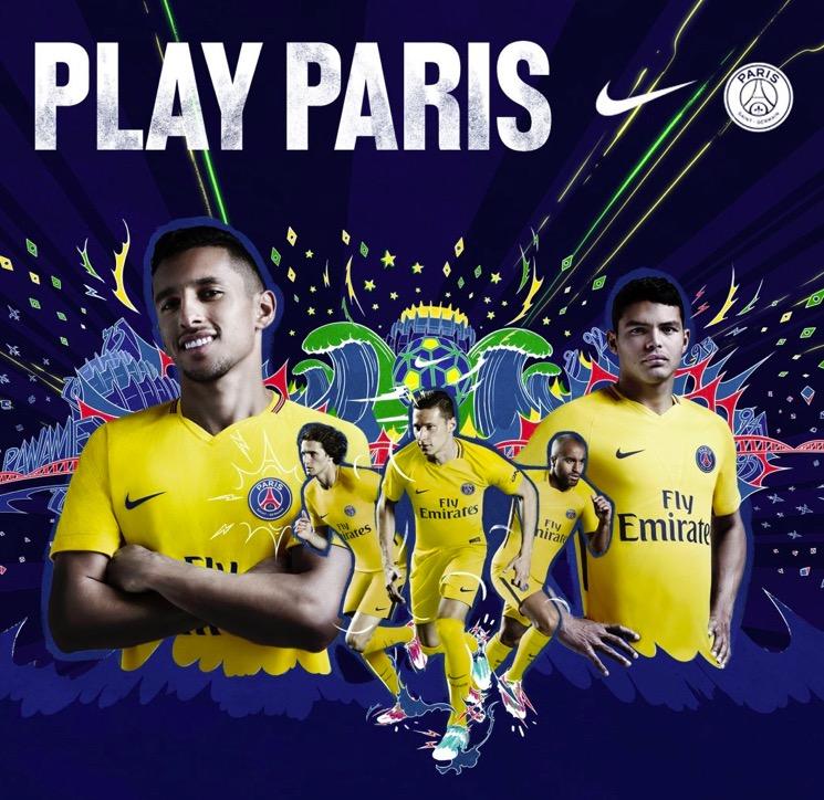 官方:巴黎圣日耳曼公布2017/18赛季客场球衣