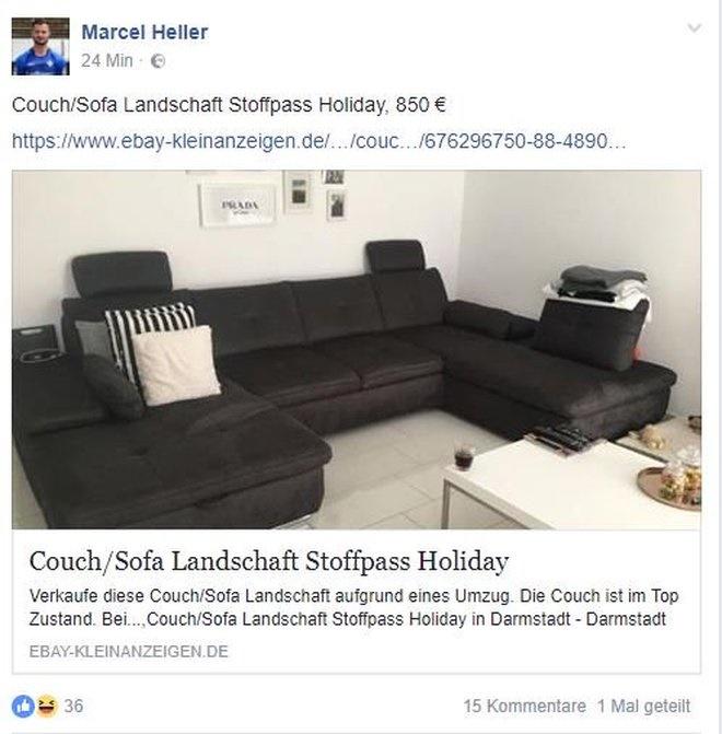 搬家!奥格斯堡新援在网络平台出售沙发