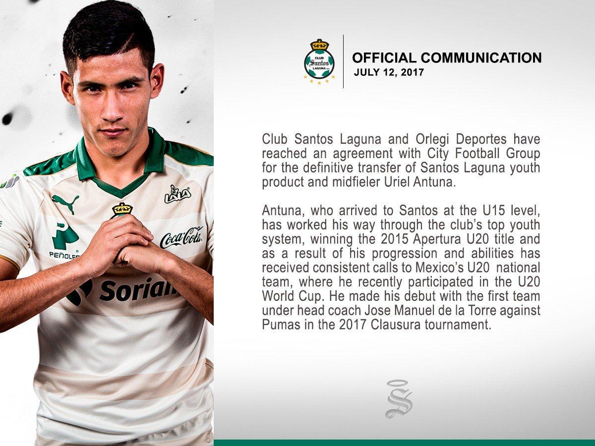 官方:城市足球集团签下墨西哥U20国脚