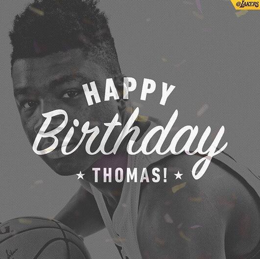 湖人官方祝托马斯-布莱恩特20岁生日快乐