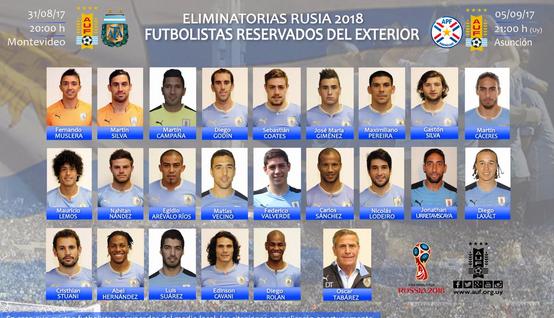 乌拉圭世预赛大名单:苏亚雷斯卡瓦尼领衔