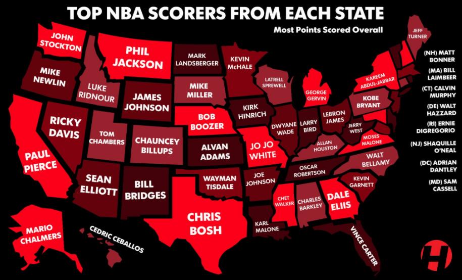 美國各州的NBA得分王:俄亥俄州屬於詹姆斯