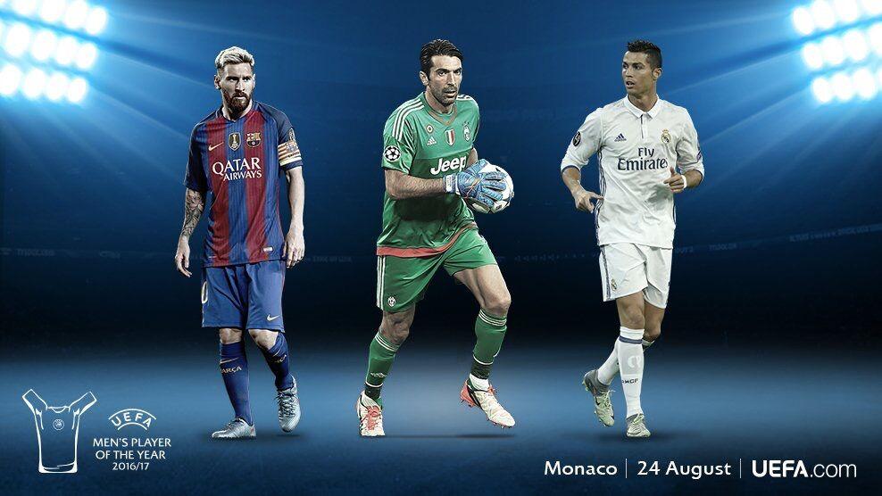 欧足联年度最佳球员候选:C罗、梅西以及布冯