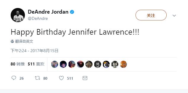 小喬丹:祝詹妮弗-勞倫斯27歲生日快樂!