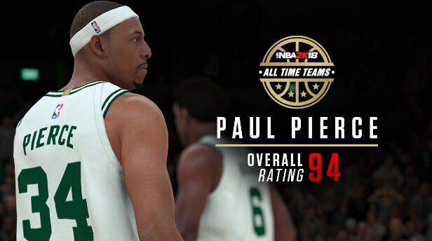 皮爾斯在2K凱爾特人隊史最佳陣容的能力值為94