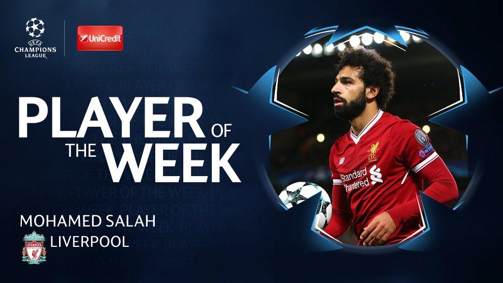 官方:利物浦边锋萨拉赫当选球迷票选周最佳球员