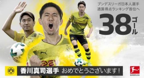 38球!香川真司成为德甲进球最多的日本球员