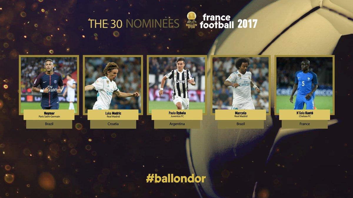 金球奖候选名单:内马尔、莫德里奇、迪巴拉等五人率先入围