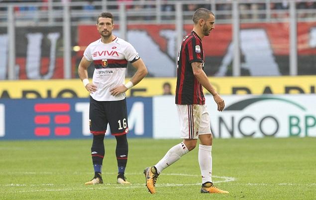 博努奇染红,十人AC米兰0-0热那亚