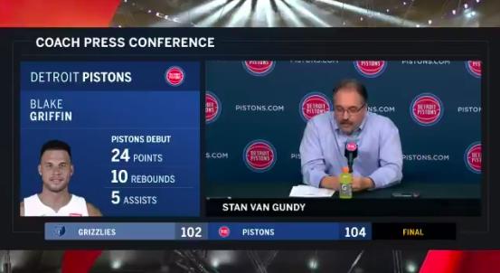 大范甘迪谈格里芬首秀:他在场时正负值为+23