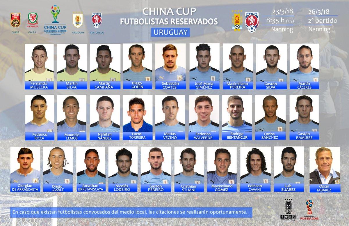 乌拉圭中国杯大名单:苏亚雷斯,卡瓦尼与戈丁领衔