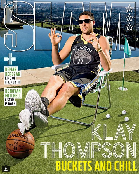 勇士官方发布克莱-汤普森登上《SLAM》封面的照片